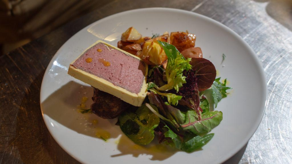 French cuisine - Duck parfait and salad