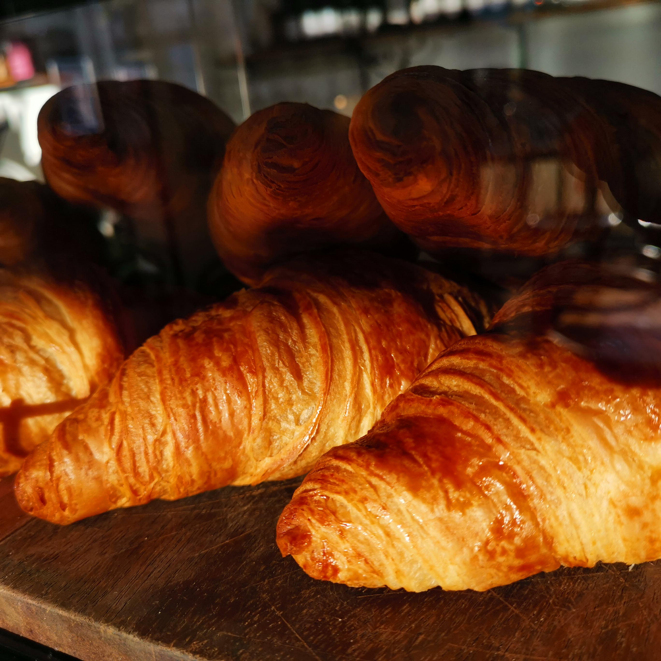Croissants on display